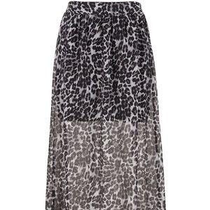 Sheer Grey Cheetah Print Maxi Skirt